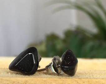 Black Goldstone Earrings