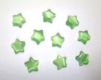 10 green 10x10x3.5 mm star shaped cat eye beads