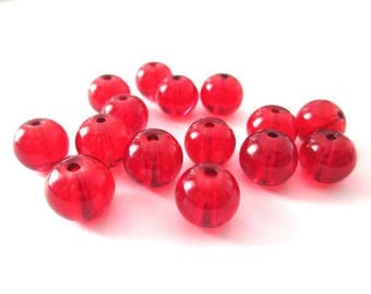 10 Red transparent glass beads 8mm
