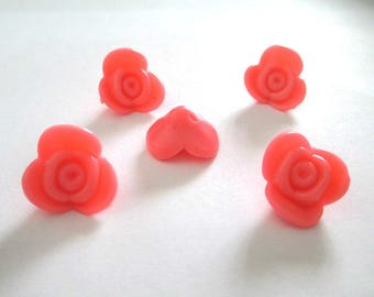 5 beads acrylic flower coral 15x15x8mm