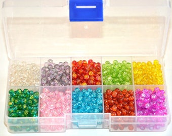 1 box of 1600 beads Crackle Glass 4mm (160 beads of each color) 10 compartments