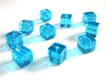 10 square beads 8x8mm glass sky blue
