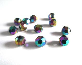 10 multicolored 6mm round faceted Crystal beads