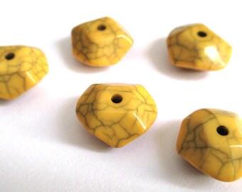 5 yellow orange beaded Octagon acrylic imitation howlite 15 x 13 x 7 mm