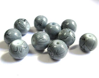 8 Gray, black round beads 10mm painted glass