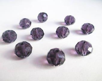 10 purple 8x10mm sniny has iridescent Crystal rondelle beads
