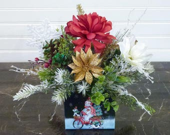 Small Christmas Centerpiece, Christmas Centerpiece in Gift Box, Christmas Table Arrangement