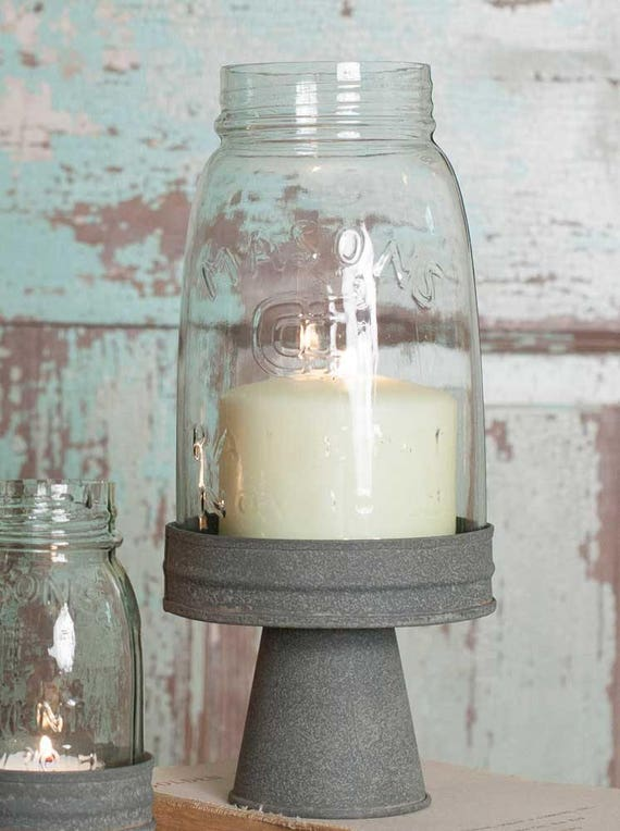 Mason Jar Chimney with Stand - Quart Mason Jar
