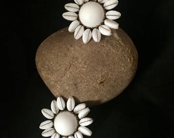 Vintage Molded Glass Clip On Earrings 1950s Milk Glass Earrings Large 50s White Flower Clip Earrings FREE Shipping US