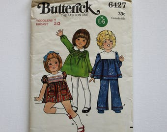 Butterick 6427 Toddler's Dress and Pants : Vintage 1970s