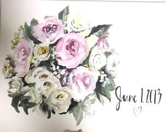 Custom bridal bouquet painting 11x14 canvas!