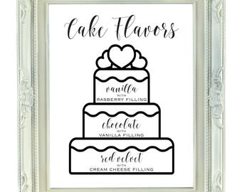 wedding cake flavour sign cake table sign etsy 22662