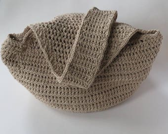 Tan Hobo Bag With Long Strap, Crochet Hobo Bag, Large Bag, Beach Bag, Large Market Bag, Crochet Purse, Hobo Style Bag, Ready To Ship