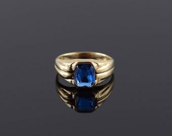 Blue Spinel* Bezel Set Grooved Ring Gold