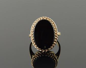 10k 18x14mm Black Onyx Oval Ring Gold