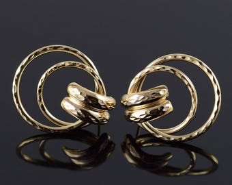 14k Door Knock Hollow Hoop Stud Earrings Gold