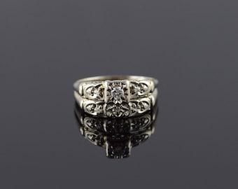 14k 1960's 0.10 CTW Diamond Engagement Wedding Band Set Ring Gold