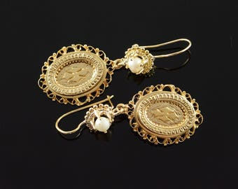14k 4mm Pearl Oval Filigree Cross Dangle Earrings Gold
