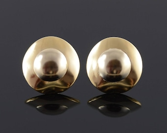Puffy Round Layered Design French Back Earrings Gold
