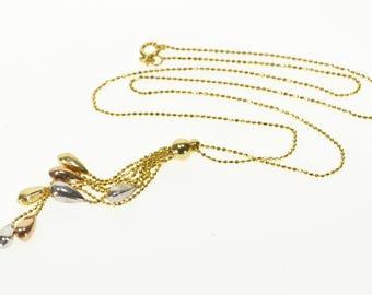 "14k 1.0mm Ball Bearing Beaded Link Fringe Pendant Necklace Gold 17"""