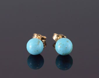 14k Turquoise Ball Round Stone Stud Earrings Gold