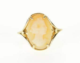 10k Oval Carved Cameo Graduated Split Band Ring Gold