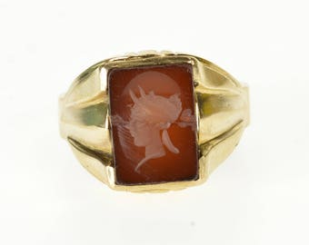 10k Carnelian Rectangular Intaglio Men's Ring Gold