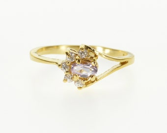 14k Oval Amethyst Half Halo Crescent Split Band Ring Gold