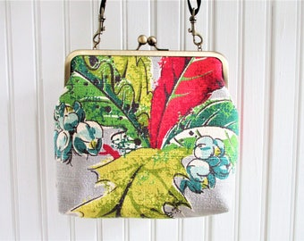 "Red Yellow Blue Green Autumn Leaves on Gray Ground Vintage Barkcloth Fabric 8"" Antique Brass Kisslock Frame Crossbody Shoulder Purse Bag"