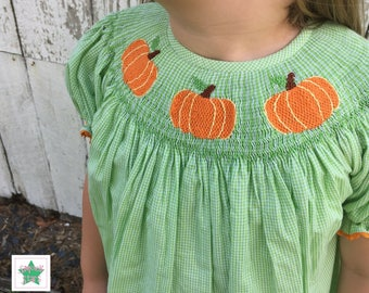 Smocked Pumpkin Dress, Smocked Fall Dress, Smocked Dresses, Girls Dresses