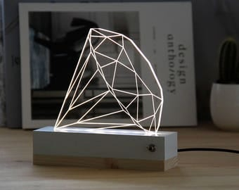 Diamond nightlight//plexiglas//led lamp//3d lamp//gift idea