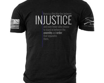 Grunt Style Thin Blue Line Injustice tee shirt NEW