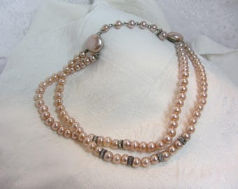 Pink Faux Pearl Bead and Clear Rhinestone Spacer Adjustable Length Necklace