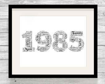 Personalised Any Year Word Art Print Bespoke Typography Digital, Print or Framed Birthday, Anniversary, Special Date