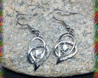 Hearts entwined stainless steel earrings
