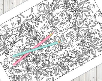 fuck this shit coloring page - 1 adult coloring page shit happens instant download