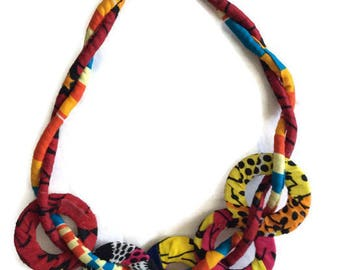 Red African Ankara Necklace For Women, African Dress Necklace, Women's African Style Necklace, Womens African Clothing Neclace, AfroNeckties