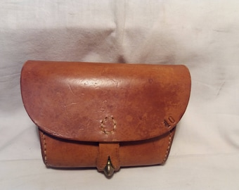 Vintage  Swedish Army Brown Leather Ammunition Pouch for M-94 MAUSER Carbine - NEW