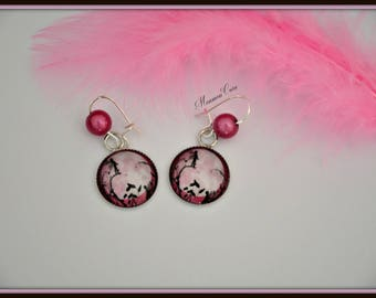 Earrings silver black fairy and moon rose