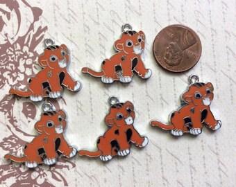 SET of 5 Simba Enamel Metal Charms/ Pendant/Earrings /Jewelry Making/DIY
