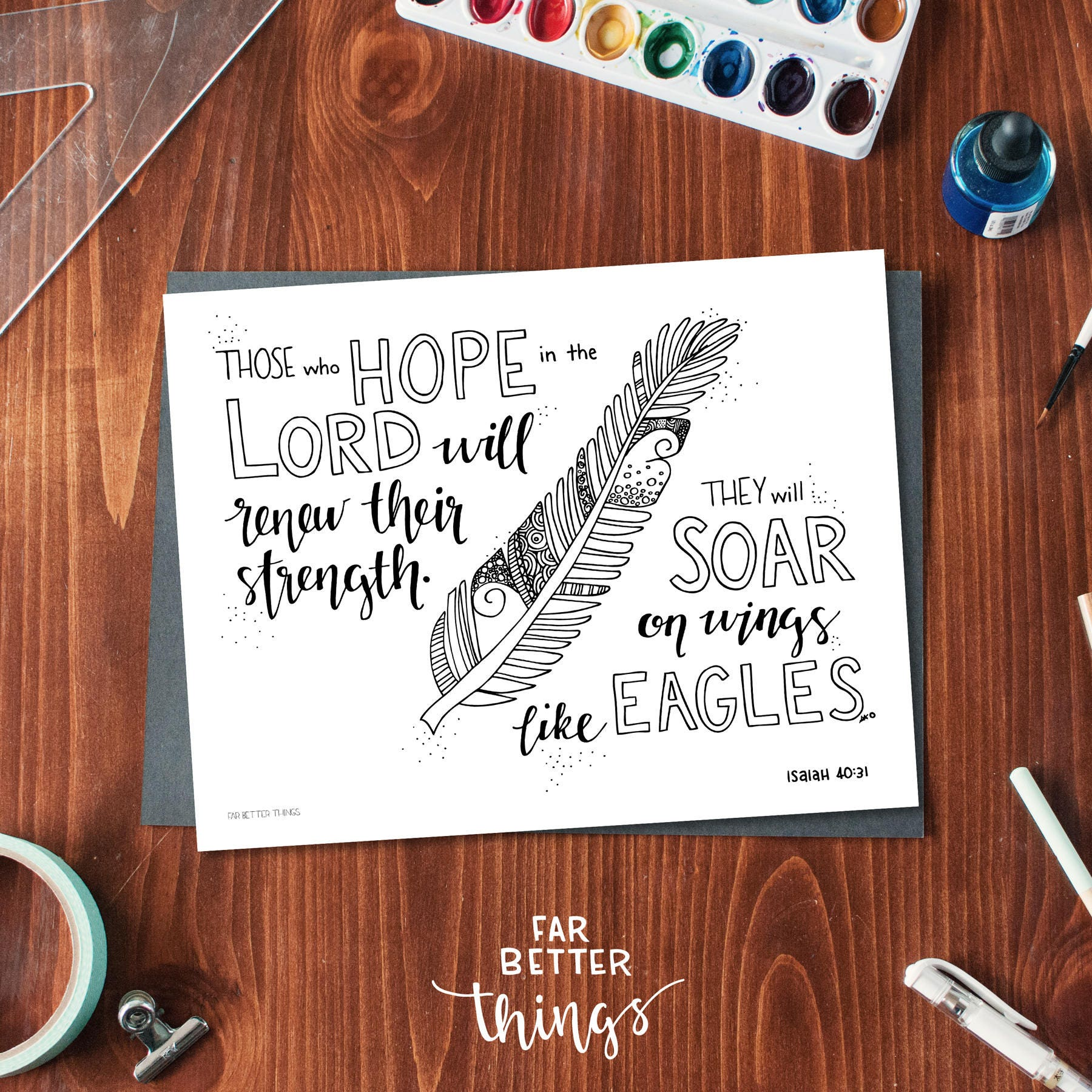 Printable coloring pages etsy - Bible Verse Coloring Page Isaiah 40 31 Printable Coloring Page Bible Verse