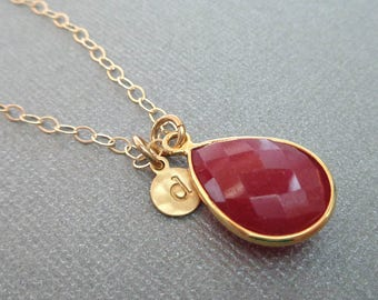 July Birthstone Ruby Pendant Necklace / Red Ruby Gold Custom Initial/ July Gift Ruby Necklace / Red Ruby Pear/ Red Stone Necklace / BE21