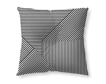 Black and White Striped - floor pillow