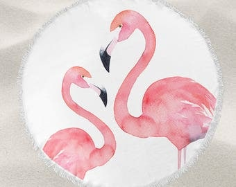Watercolor Flamingos over-sized round beach towel