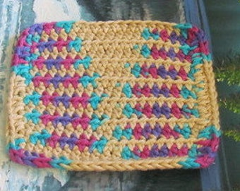 Hand crochet cotton dish cloth 6 by 6 cdc 094