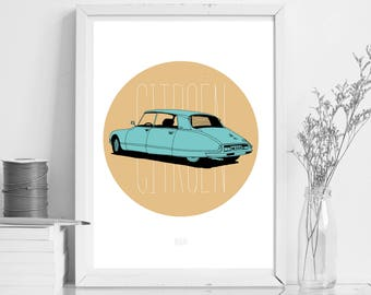 Citroën - Toffee & Turquoise - A4 Print