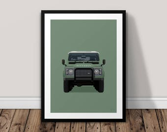 Land Rover Defender Illustrated Poster Print | A6 A5 A4 A3 | The Stone Roses
