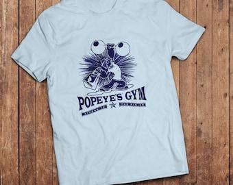 Popeye Gym T-Shirt, Funny classic cartoon tee, 1980's TV SHow, eighties cartoon classic.