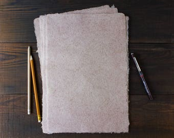 Handmade paper / Deckle edge paper / Textured paper / Eco friendly writing paper / Hemp fiber paper / A4 paper / Single sheet (code#28)