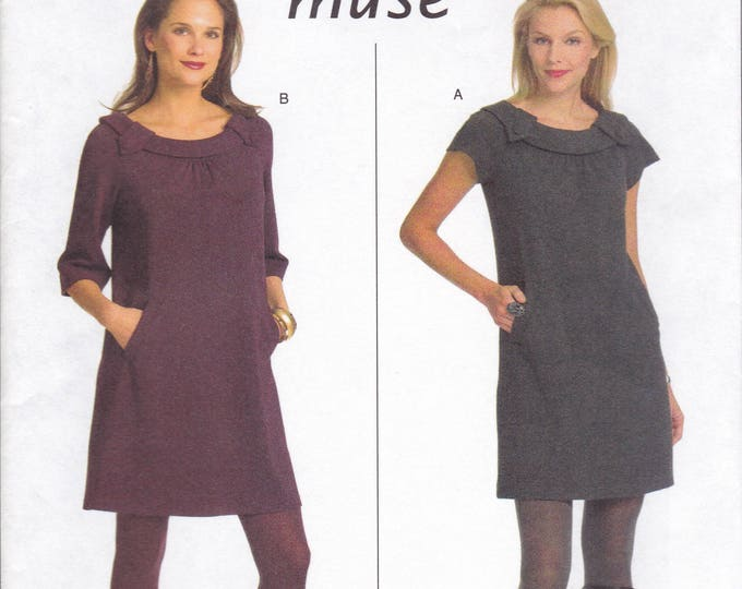 FREE US SHIP Butterick 5244 Sewing Pattern Muse Mod Dress Size 6 8 10 12 / 14 16 18 20  Bust 30 32 34 36 38 40 42 Plus New 2008